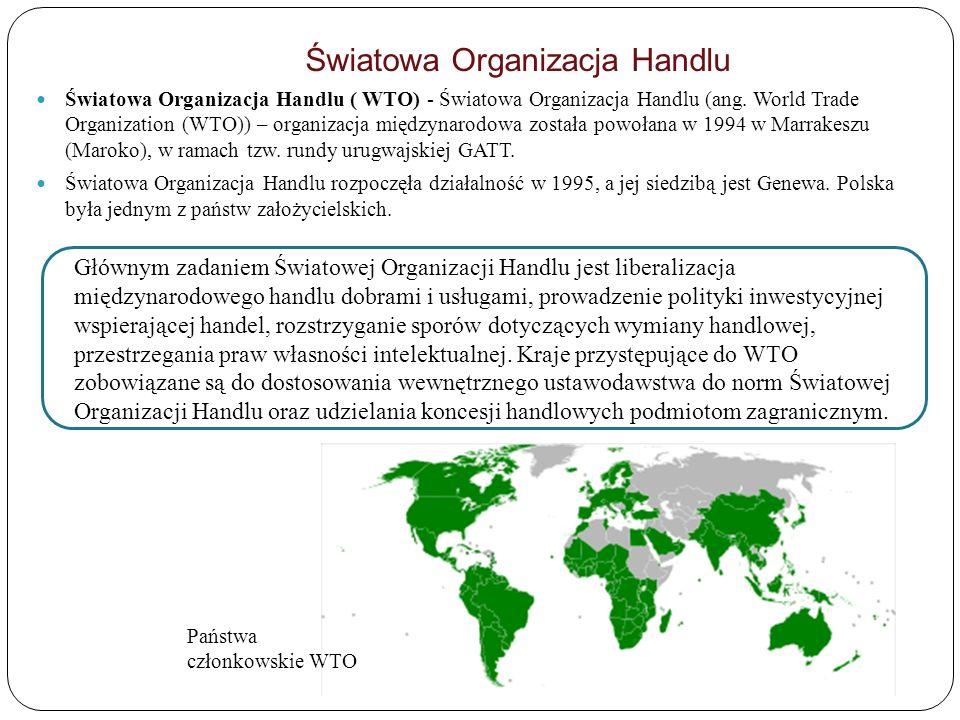 Światowa Organizacja Handlu Światowa Organizacja Handlu ( WTO) - Światowa Organizacja Handlu (ang. World Trade Organization (WTO)) – organizacja międz