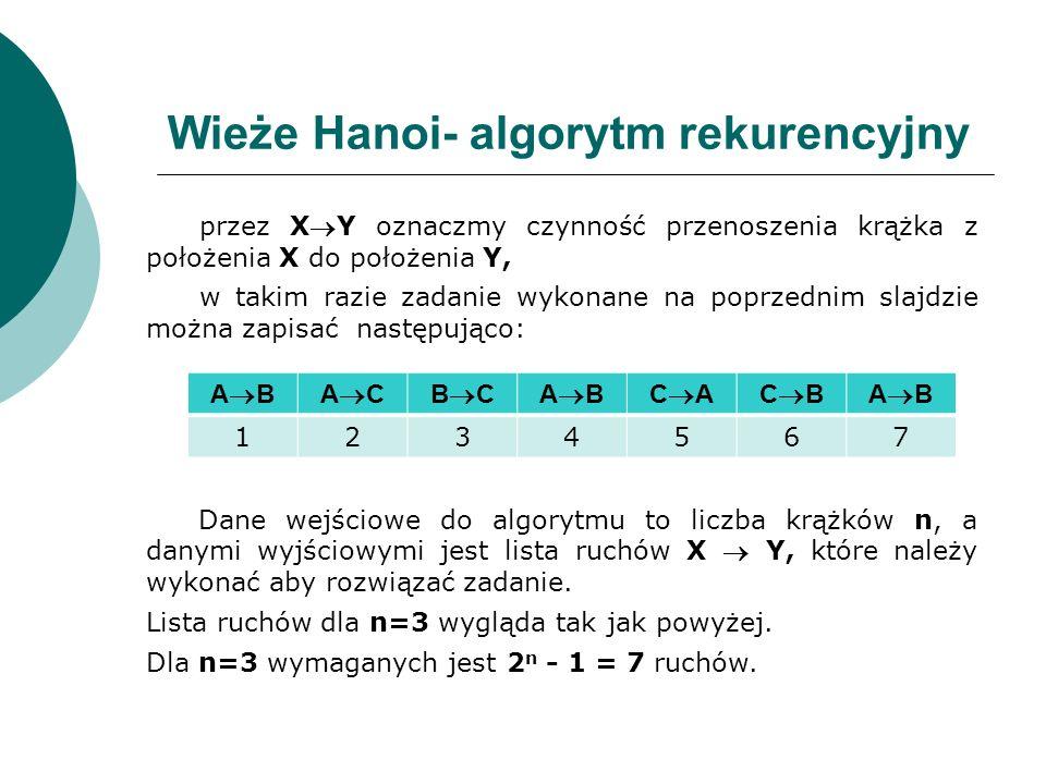 Wieże Hanoi- algorytm rekurencyjny przez XY oznaczmy czynność przenoszenia krążka z położenia X do położenia Y, w takim razie zadanie wykonane na popr