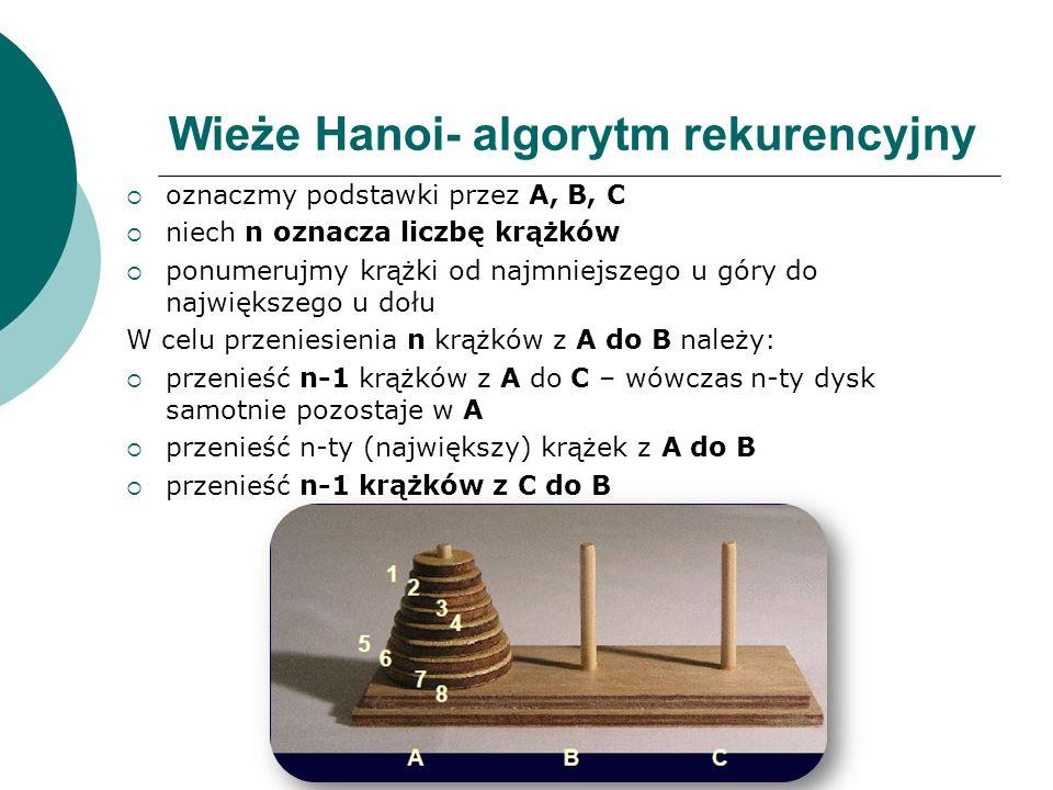 Wieże Hanoi- algorytm rekurencyjny oznaczmy podstawki przez A, B, C niech n oznacza liczbę krążków ponumerujmy krążki od najmniejszego u góry do najwi