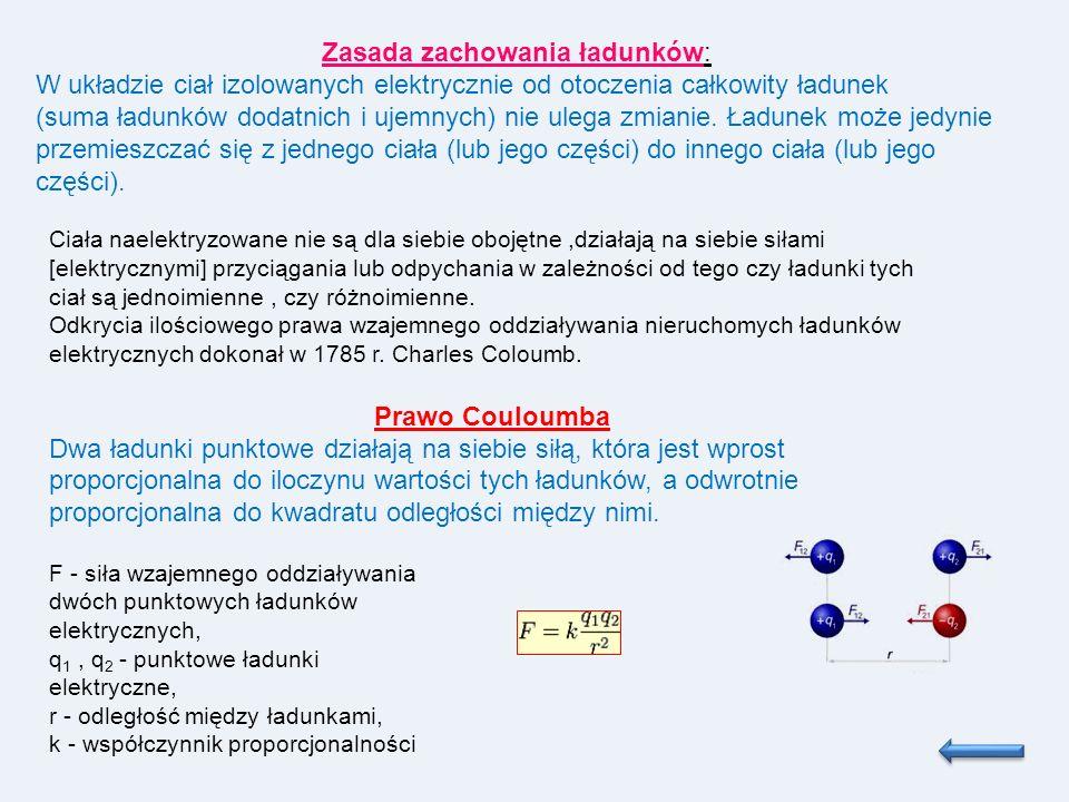 Zasada zachowania ładunków: W układzie ciał izolowanych elektrycznie od otoczenia całkowity ładunek (suma ładunków dodatnich i ujemnych) nie ulega zmi