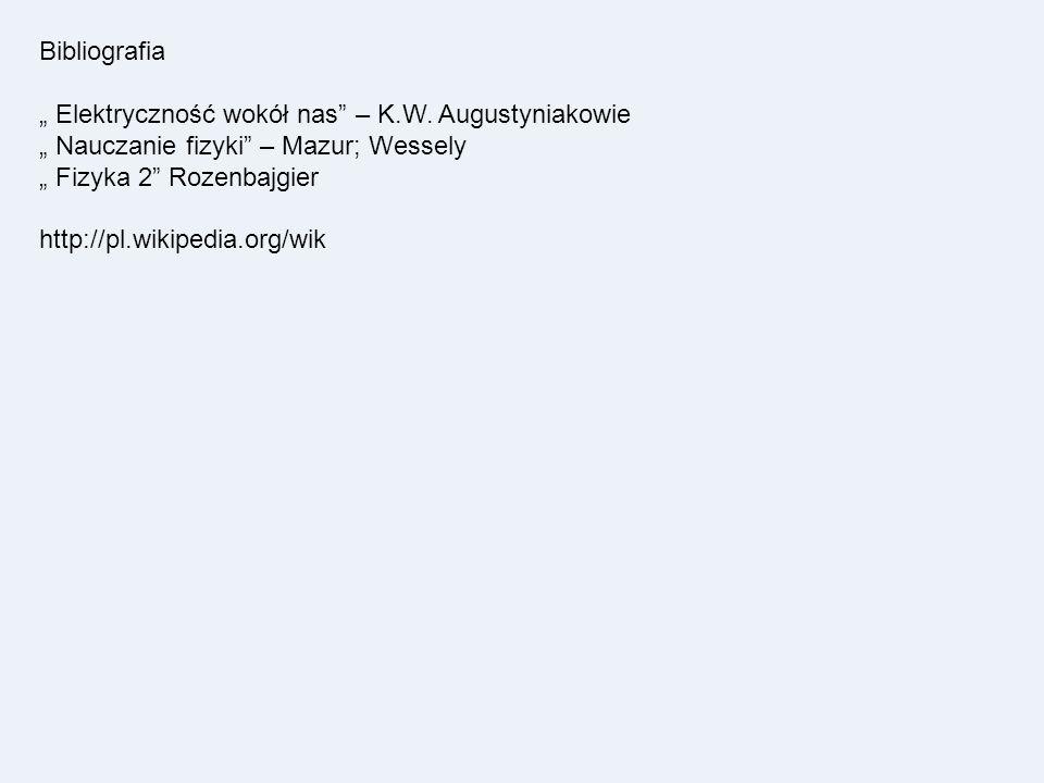 Bibliografia Elektryczność wokół nas – K.W. Augustyniakowie Nauczanie fizyki – Mazur; Wessely Fizyka 2 Rozenbajgier http://pl.wikipedia.org/wik