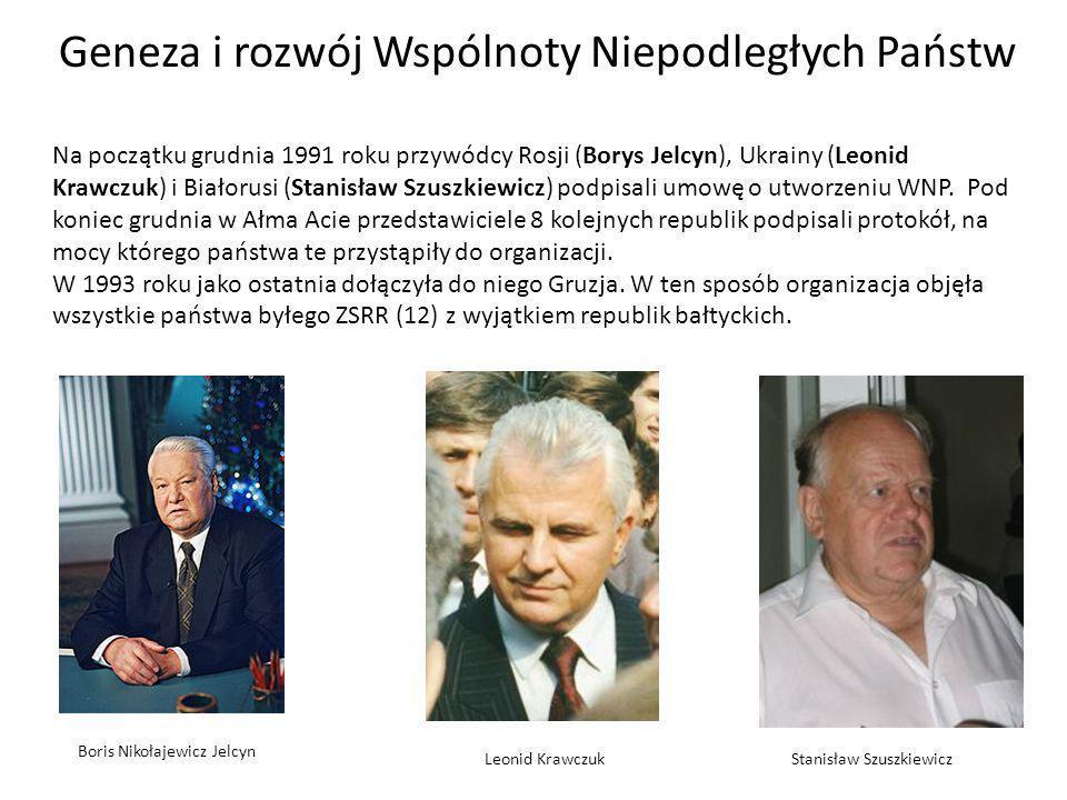 Geneza i rozwój Wspólnoty Niepodległych Państw Na początku grudnia 1991 roku przywódcy Rosji (Borys Jelcyn), Ukrainy (Leonid Krawczuk) i Białorusi (Stanisław Szuszkiewicz) podpisali umowę o utworzeniu WNP.