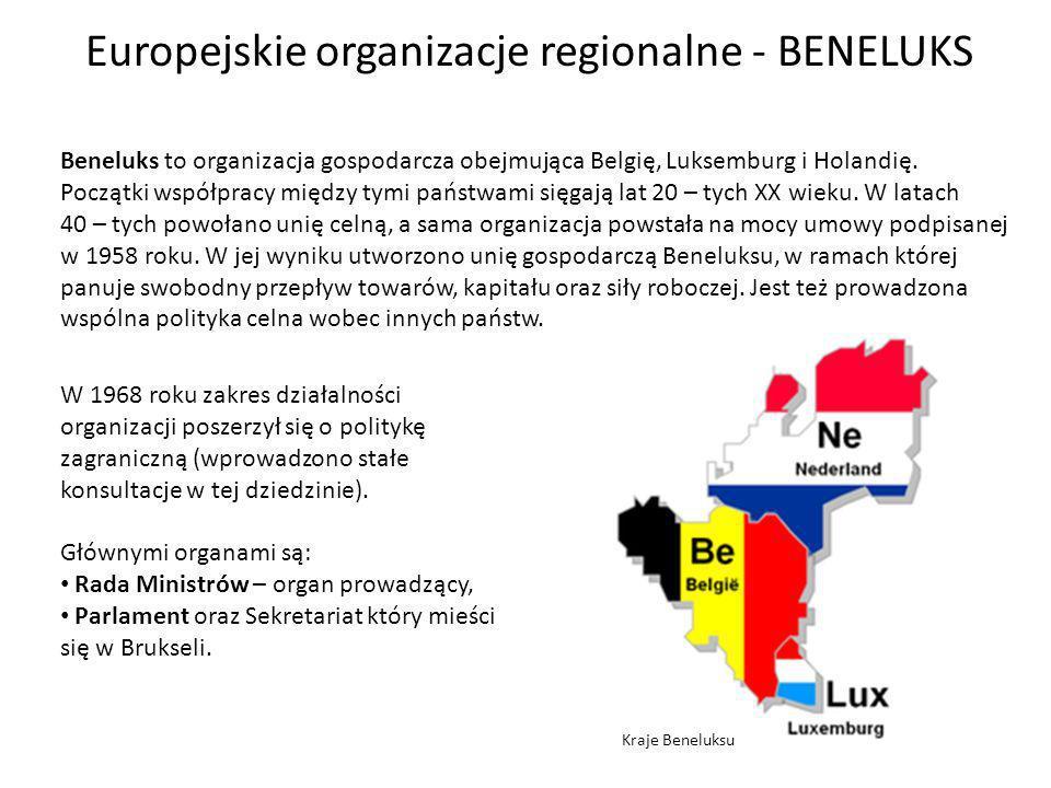 Europejskie organizacje regionalne - BENELUKS Beneluks to organizacja gospodarcza obejmująca Belgię, Luksemburg i Holandię.