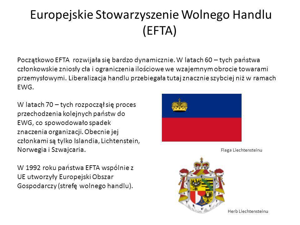 Europejskie Stowarzyszenie Wolnego Handlu (EFTA) Początkowo EFTA rozwijała się bardzo dynamicznie.
