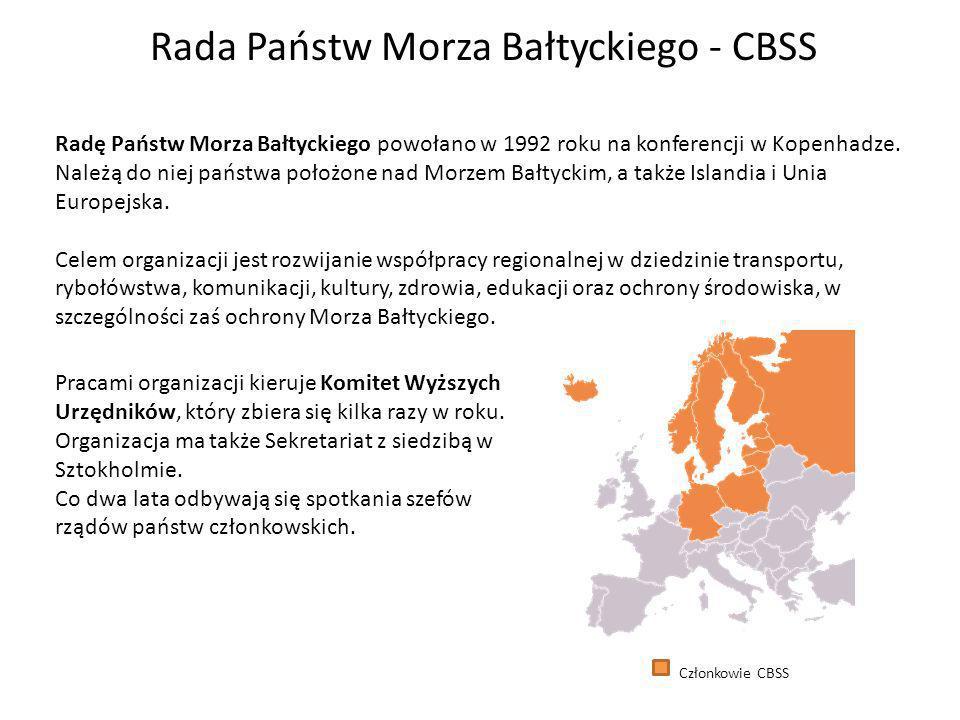 Rada Państw Morza Bałtyckiego - CBSS Radę Państw Morza Bałtyckiego powołano w 1992 roku na konferencji w Kopenhadze.