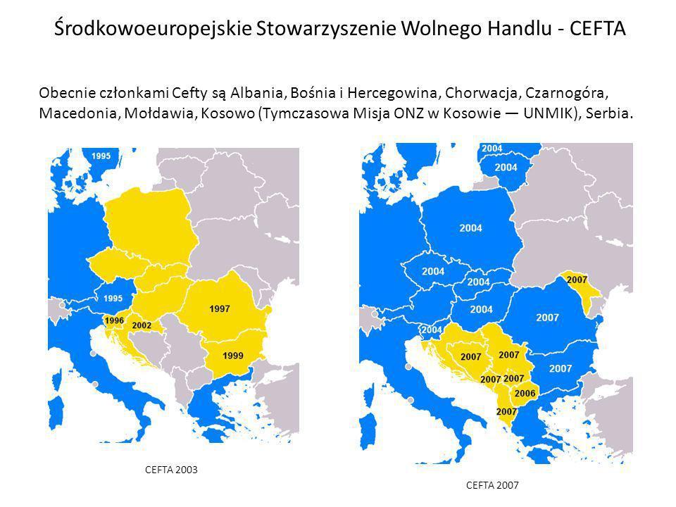 Środkowoeuropejskie Stowarzyszenie Wolnego Handlu - CEFTA CEFTA 2003 CEFTA 2007 Obecnie członkami Cefty są Albania, Bośnia i Hercegowina, Chorwacja, Czarnogóra, Macedonia, Mołdawia, Kosowo (Tymczasowa Misja ONZ w Kosowie UNMIK), Serbia.