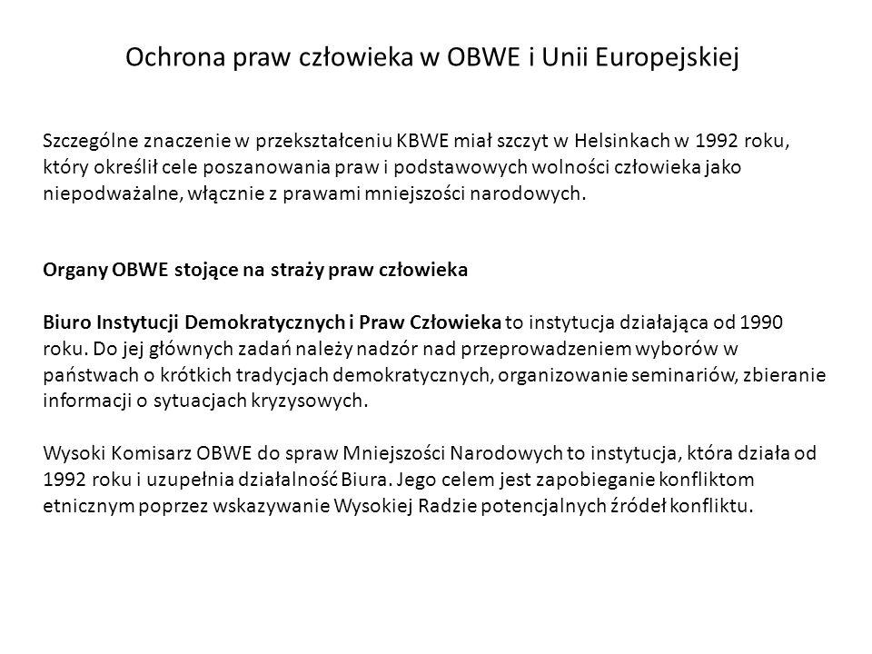 Ochrona praw człowieka w OBWE i Unii Europejskiej Organy OBWE stojące na straży praw człowieka Biuro Instytucji Demokratycznych i Praw Człowieka to in
