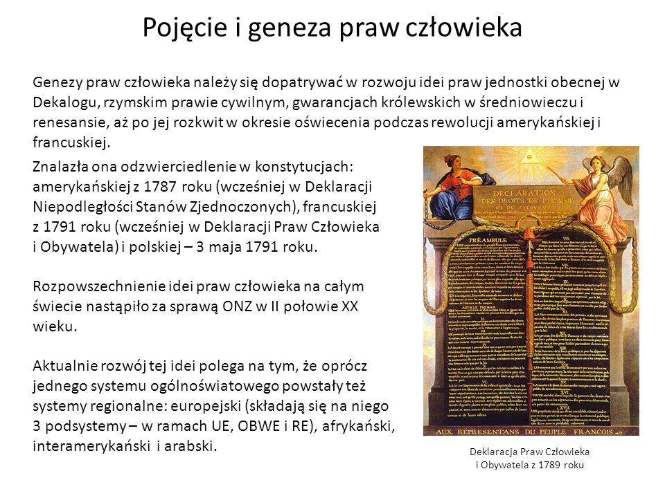 Pojęcie i geneza praw człowieka Genezy praw człowieka należy się dopatrywać w rozwoju idei praw jednostki obecnej w Dekalogu, rzymskim prawie cywilnym