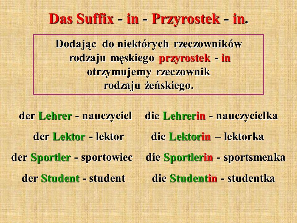 Das Suffix - in - Przyrostek - in. Dodając do niektórych rzeczowników rodzaju męskiego przyrostek - in otrzymujemy rzeczownik rodzaju żeńskiego. der L
