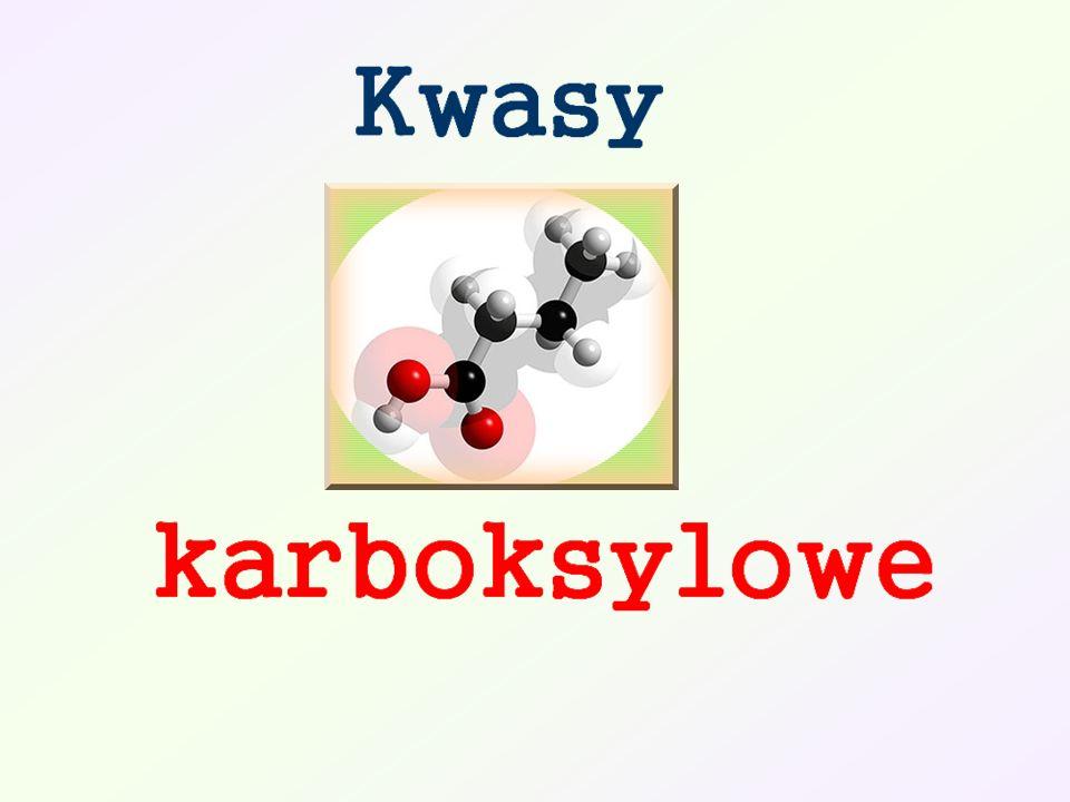Spis treści: Charakterystyka grupy karboksylowej Podział kwasów karboksylowych Nazewnictwo kwasy monokarboksylowe alifatyczne nasycone kwasy monokarboksylowe alifatyczne nienasycone kwasy dikarboksylowe aromatyczne kwasy karboksylowe Otrzymywanie kwasów karboksylowych Właściwości chemiczne: A.Reakcje polegające na rozerwaniu wiązania O-H B.