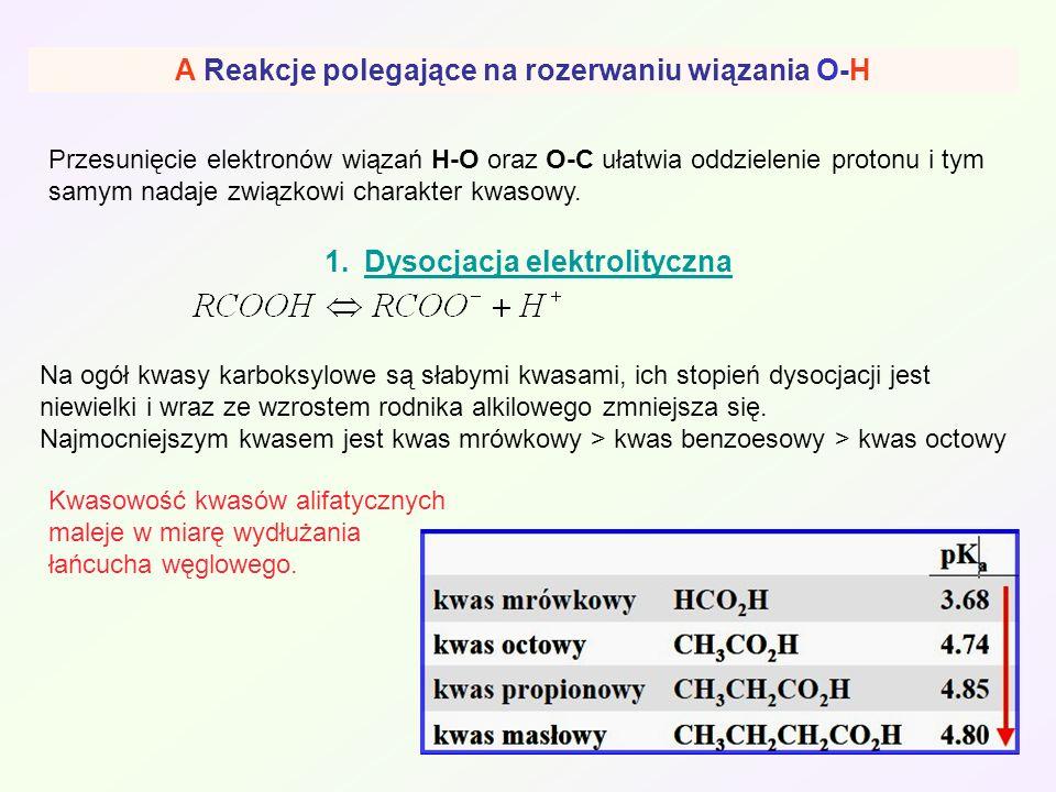 A Reakcje polegające na rozerwaniu wiązania O-H Przesunięcie elektronów wiązań H-O oraz O-C ułatwia oddzielenie protonu i tym samym nadaje związkowi c