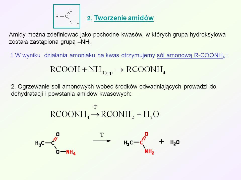 2. Tworzenie amidów Amidy można zdefiniować jako pochodne kwasów, w których grupa hydroksylowa została zastąpiona grupą –NH 2 1.W wyniku działania amo