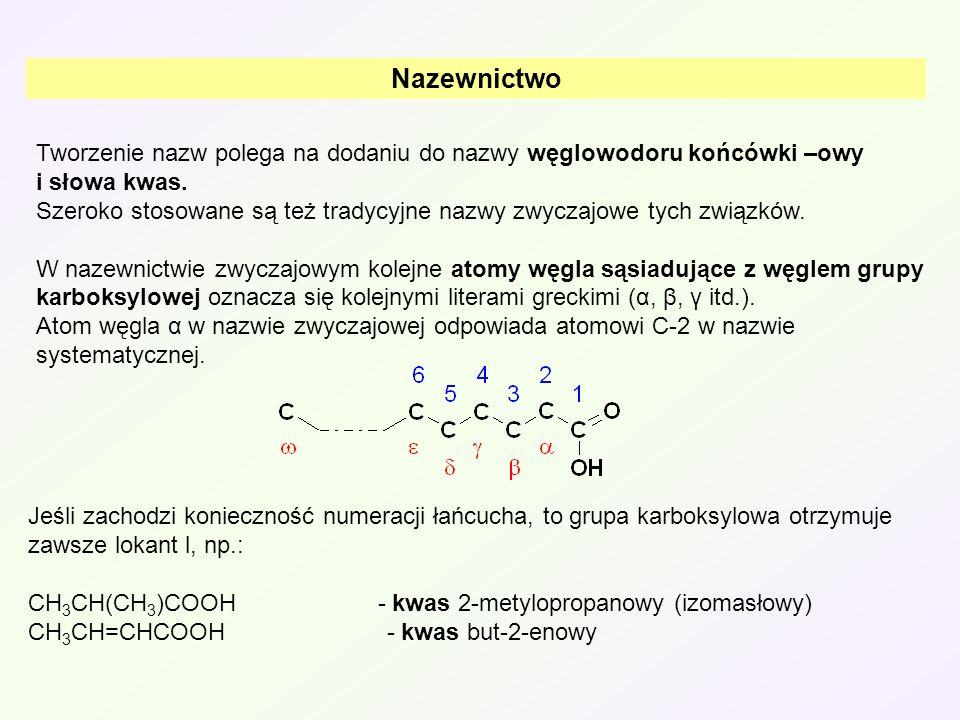 A Reakcje polegające na rozerwaniu wiązania O-H Przesunięcie elektronów wiązań H-O oraz O-C ułatwia oddzielenie protonu i tym samym nadaje związkowi charakter kwasowy.