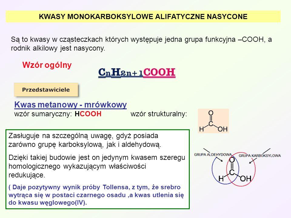 Cząsteczkę kwasu mrówkowego łatwo utlenić: Silne środki odwadniające powodują rozpad na CO i H 2 O: Występowanie: w organizmach mrówek, w niektórych roślinach – pokrzywa.