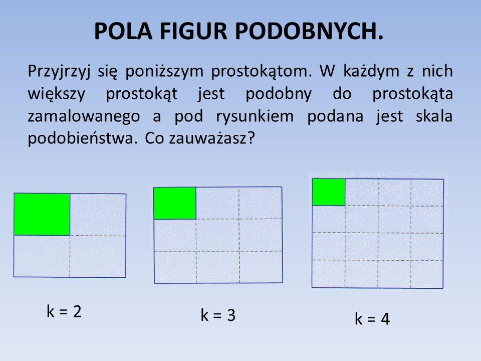 POLA FIGUR PODOBNYCH.Stosunek pól figur podobnych jest równy kwadratowi skali podobieństwa.