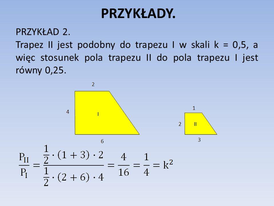 PRZYKŁADY.PRZYKŁAD 3. Prostokąt F 2 jest podobny do prostokąta F 1 w skali k.