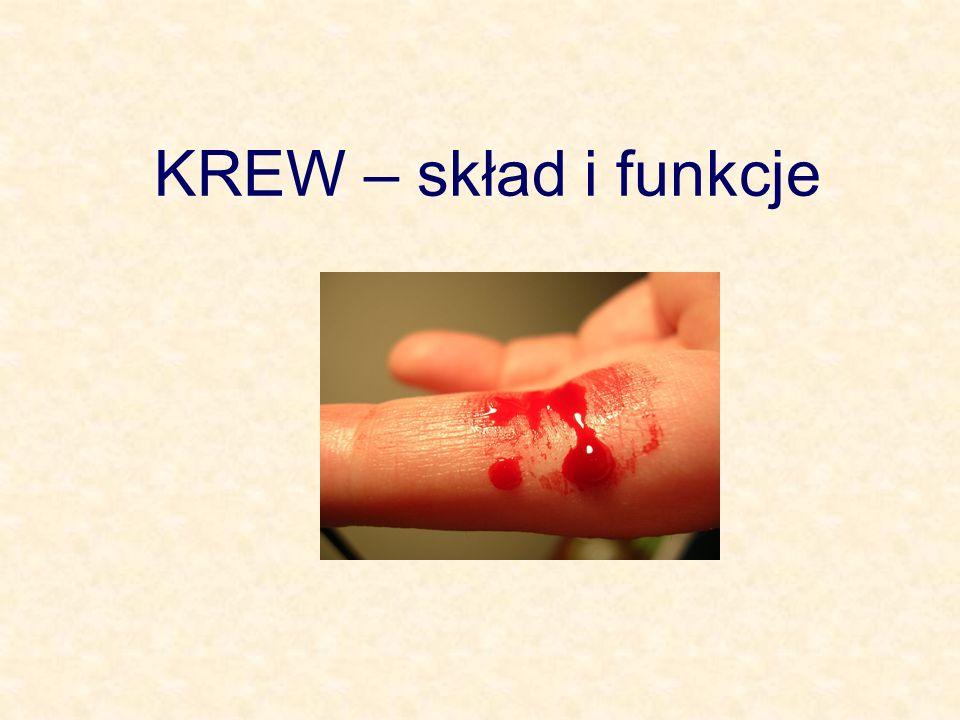 KREW Jest swoistą odmianą tkanki łącznej, która składa się z płynnej substancji międzykomórkowej, czyli osocza oraz elementów morfotycznych – krwinek (czerwonych i białych) oraz płytek krwi.