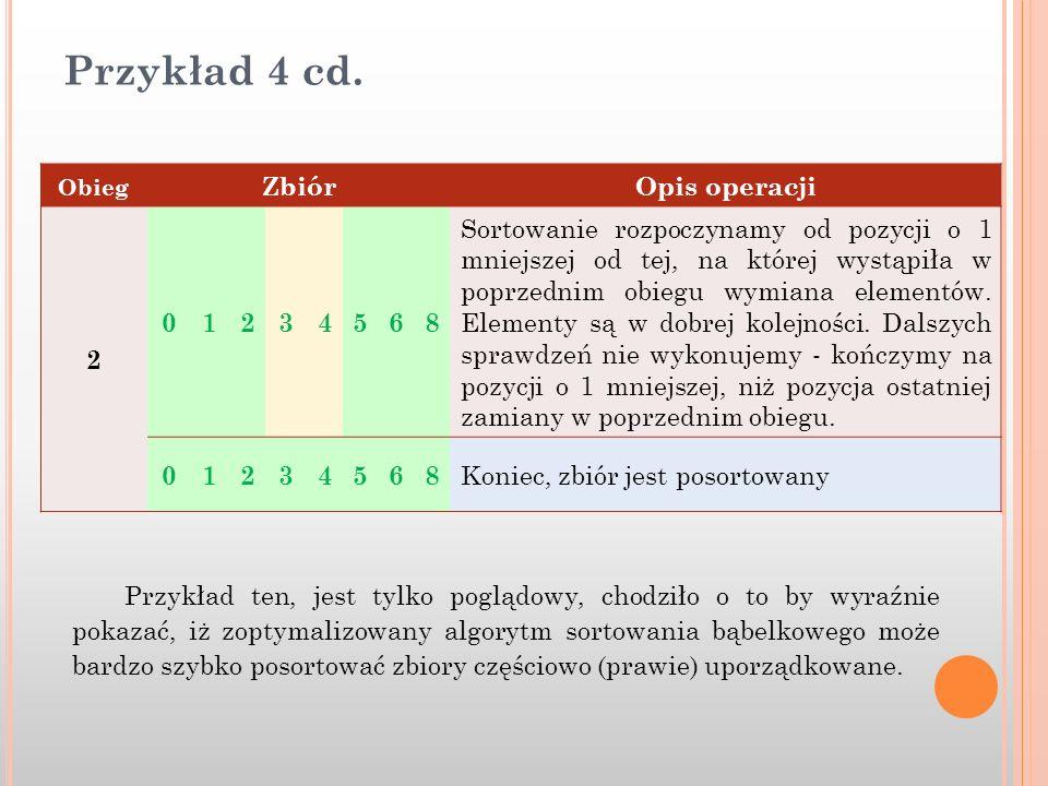 Przykład 4 cd. Obieg ZbiórOpis operacji 2 01234568 Sortowanie rozpoczynamy od pozycji o 1 mniejszej od tej, na której wystąpiła w poprzednim obiegu wy