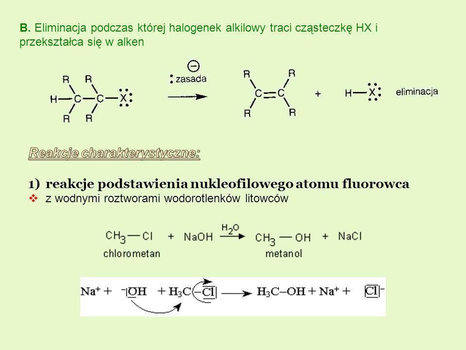 B. Eliminacja podczas której halogenek alkilowy traci cząsteczkę HX i przekształca się w alken