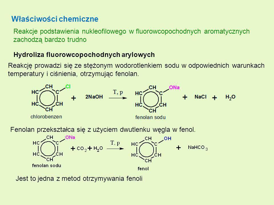Właściwości chemiczne Reakcje podstawienia nukleofilowego w fluorowcopochodnych aromatycznych zachodzą bardzo trudno Hydroliza fluorowcopochodnych ary