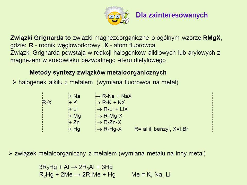 Związki Grignarda to związki magnezoorganiczne o ogólnym wzorze RMgX, gdzie: R - rodnik węglowodorowy, X - atom fluorowca. Związki Grignarda powstają