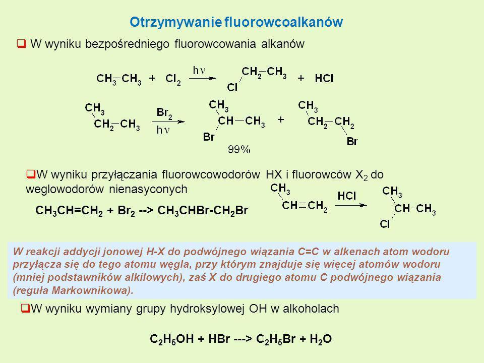 Otrzymywanie fluorowcoalkanów W wyniku bezpośredniego fluorowcowania alkanów W wyniku przyłączania fluorowcowodorów HX i fluorowców X 2 do weglowodoró