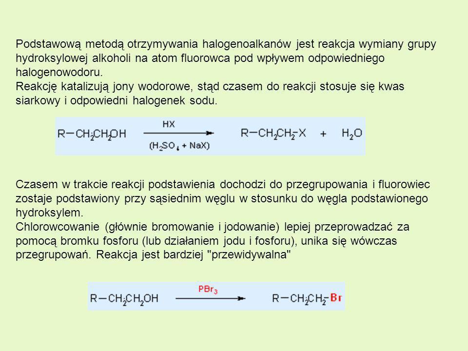 Podstawową metodą otrzymywania halogenoalkanów jest reakcja wymiany grupy hydroksylowej alkoholi na atom fluorowca pod wpływem odpowiedniego halogenow