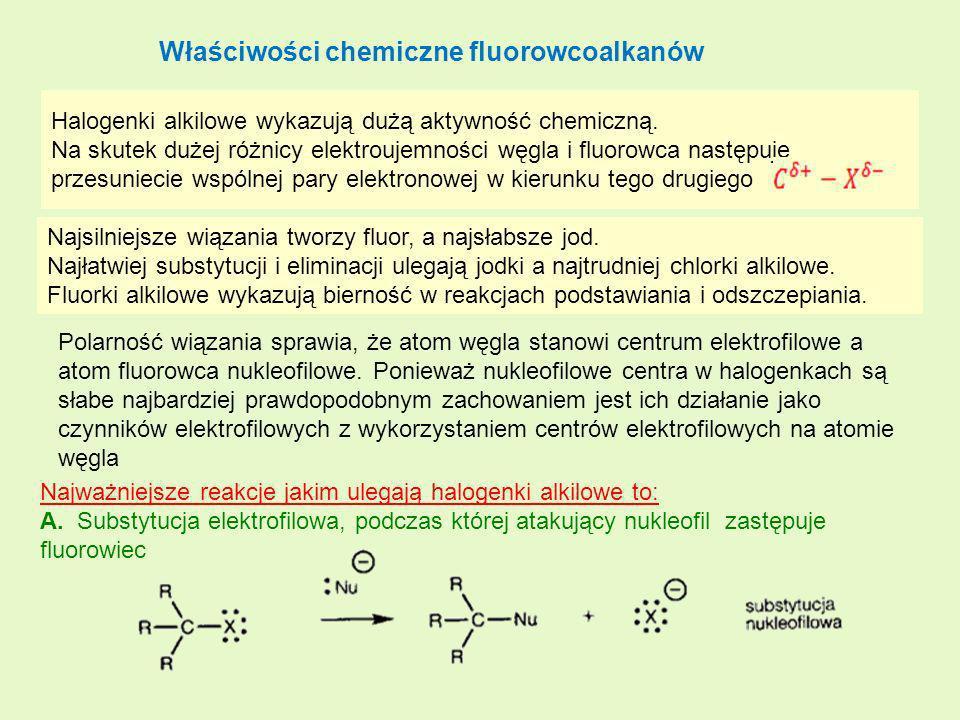 Właściwości chemiczne fluorowcoalkanów Halogenki alkilowe wykazują dużą aktywność chemiczną. Na skutek dużej różnicy elektroujemności węgla i fluorowc