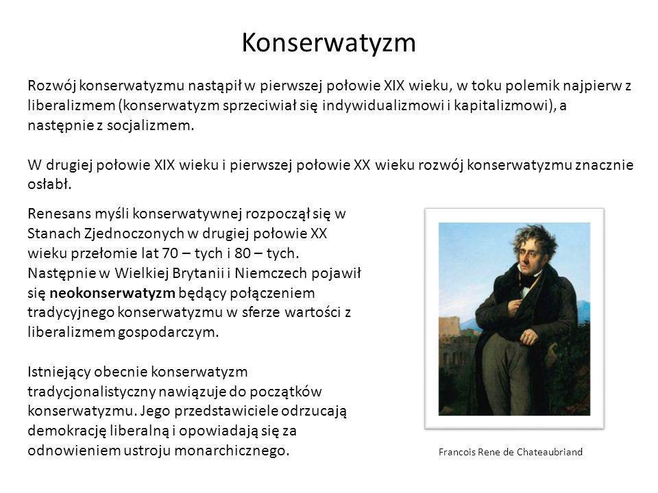Konserwatyzm w Polsce Polski konserwatyzm narodził się w pierwszej połowie XIX wieku.