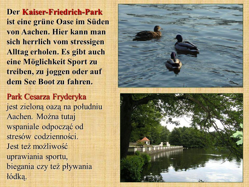 Der Kaiser-Friedrich-Park ist eine grüne Oase im Süden von Aachen. Hier kann man sich herrlich vom stressigen Alltag erholen. Es gibt auch eine Möglic