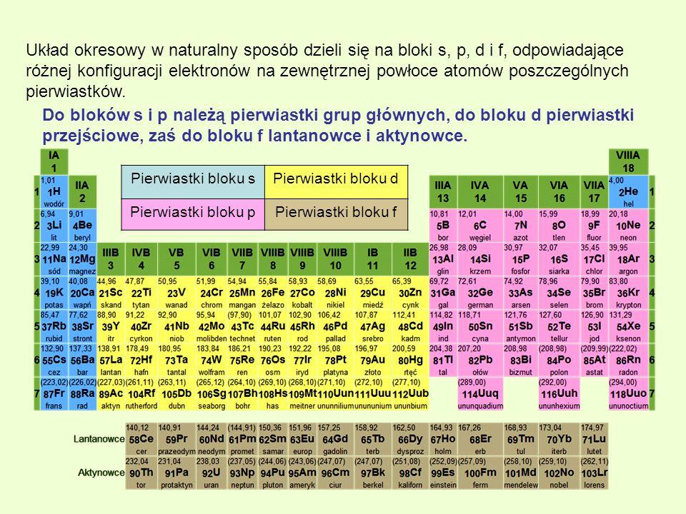 Układ okresowy w naturalny sposób dzieli się na bloki s, p, d i f, odpowiadające różnej konfiguracji elektronów na zewnętrznej powłoce atomów poszczeg
