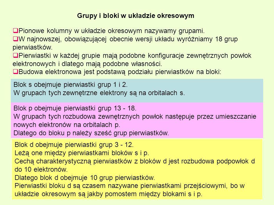 Pionowe kolumny w układzie okresowym nazywamy grupami. W najnowszej, obowiązującej obecnie wersji układu wyróżniamy 18 grup pierwiastków. Pierwiastki