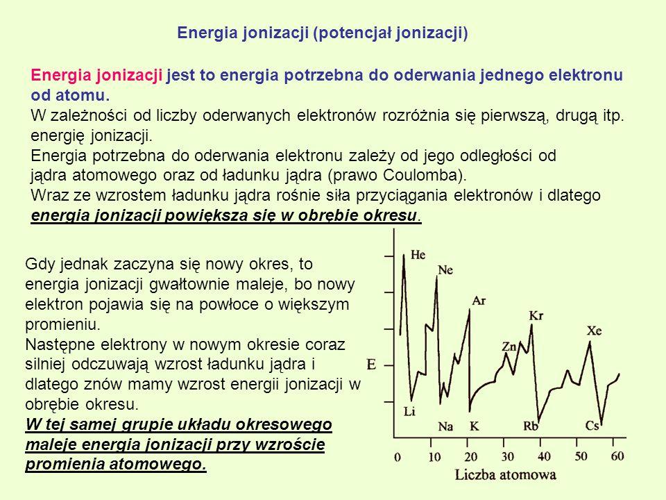 Energia jonizacji (potencjał jonizacji) Energia jonizacji jest to energia potrzebna do oderwania jednego elektronu od atomu. W zależności od liczby od