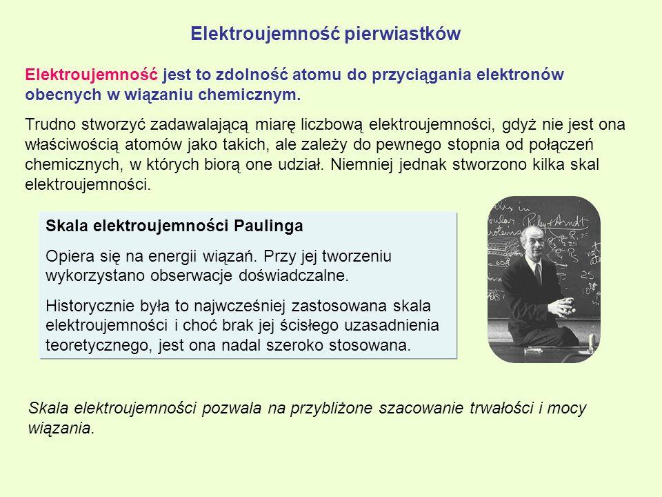 Elektroujemność pierwiastków Elektroujemność jest to zdolność atomu do przyciągania elektronów obecnych w wiązaniu chemicznym. Trudno stworzyć zadawal