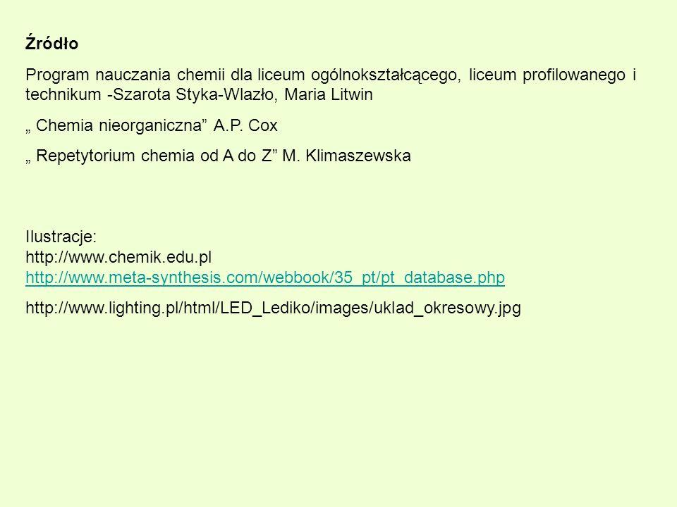 Źródło Program nauczania chemii dla liceum ogólnokształcącego, liceum profilowanego i technikum -Szarota Styka-Wlazło, Maria Litwin Chemia nieorganicz