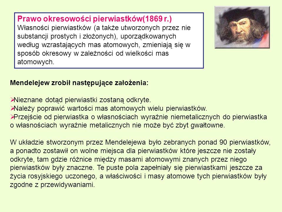 Prawo okresowości pierwiastków(1869 r.) Własności pierwiastków (a także utworzonych przez nie substancji prostych i złożonych), uporządkowanych według
