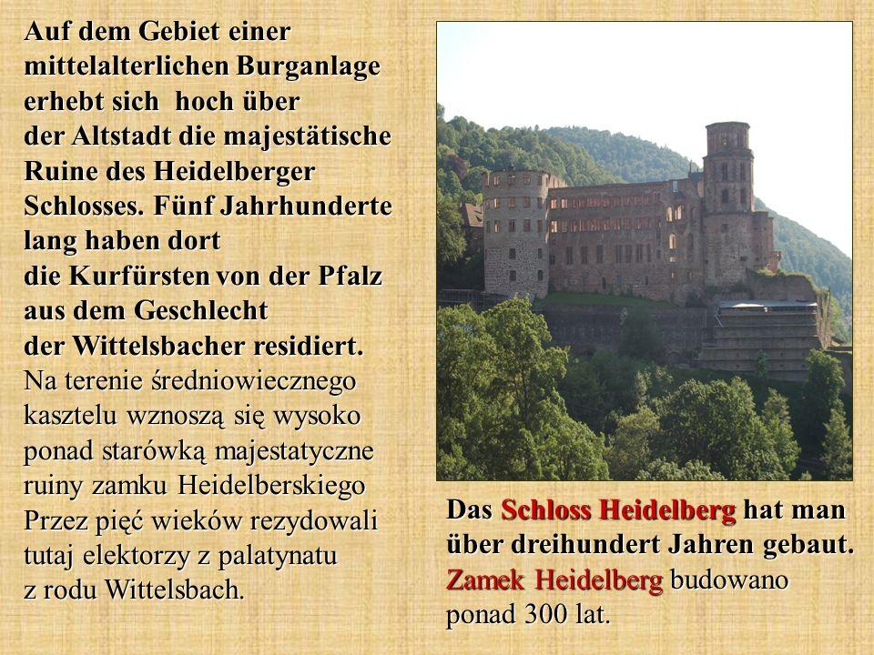 Das Schloss Heidelberg hat man über dreihundert Jahren gebaut.