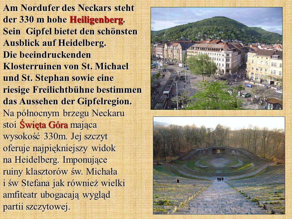 Am Nordufer des Neckars steht der 330 m hohe Heiligenberg.