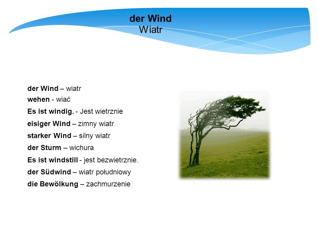 der Wind Wiatr der Wind – wiatr wehen - wiać Es ist windig. - Jest wietrznie eisiger Wind – zimny wiatr starker Wind – silny wiatr der Sturm – wichura