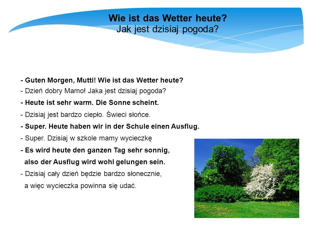 Wortschatz Słownictwo das Wetter - pogoda die Sonne - słońce Es ist sonnig.