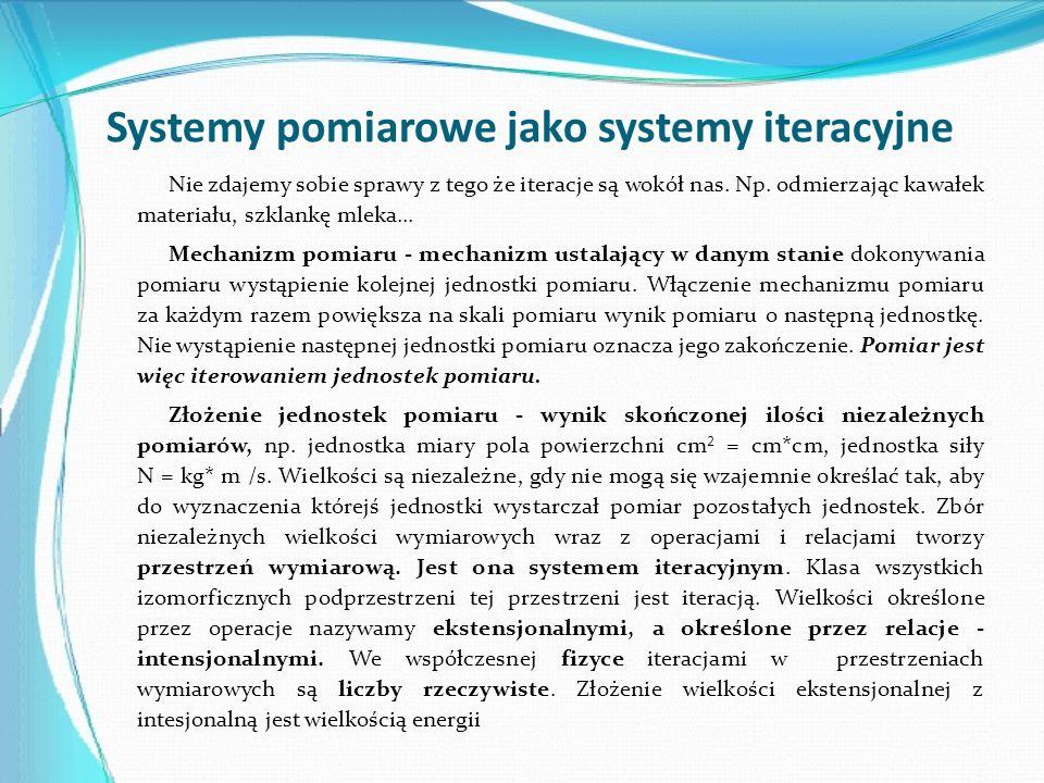 Systemy pomiarowe jako systemy iteracyjne Nie zdajemy sobie sprawy z tego że iteracje są wokół nas. Np. odmierzając kawałek materiału, szklankę mleka.