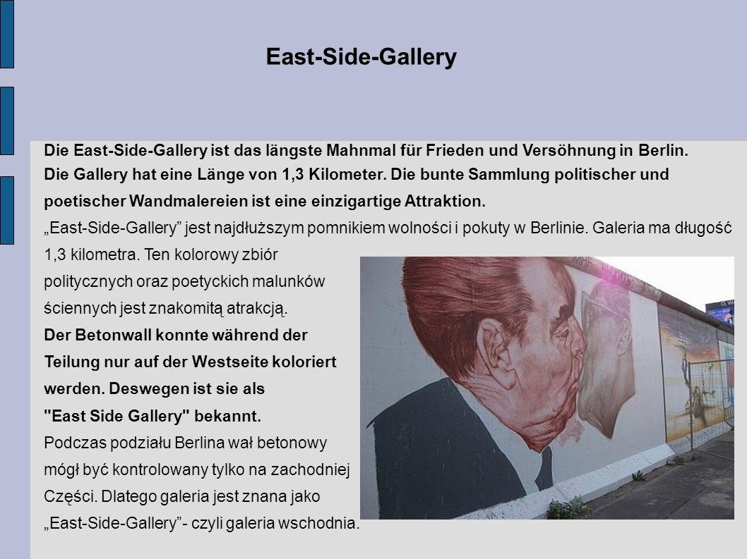 Die East-Side-Gallery ist das längste Mahnmal für Frieden und Versöhnung in Berlin. Die Gallery hat eine Länge von 1,3 Kilometer. Die bunte Sammlung p