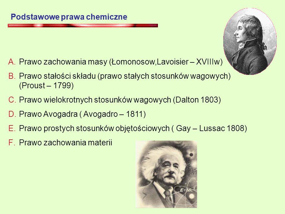 Podstawowe prawa chemiczne A.Prawo zachowania masy (Łomonosow,Lavoisier – XVIIIw) B.Prawo stałości składu (prawo stałych stosunków wagowych) (Proust – 1799) C.Prawo wielokrotnych stosunków wagowych (Dalton 1803) D.Prawo Avogadra ( Avogadro – 1811) E.Prawo prostych stosunków objętościowych ( Gay – Lussac 1808) F.Prawo zachowania materii