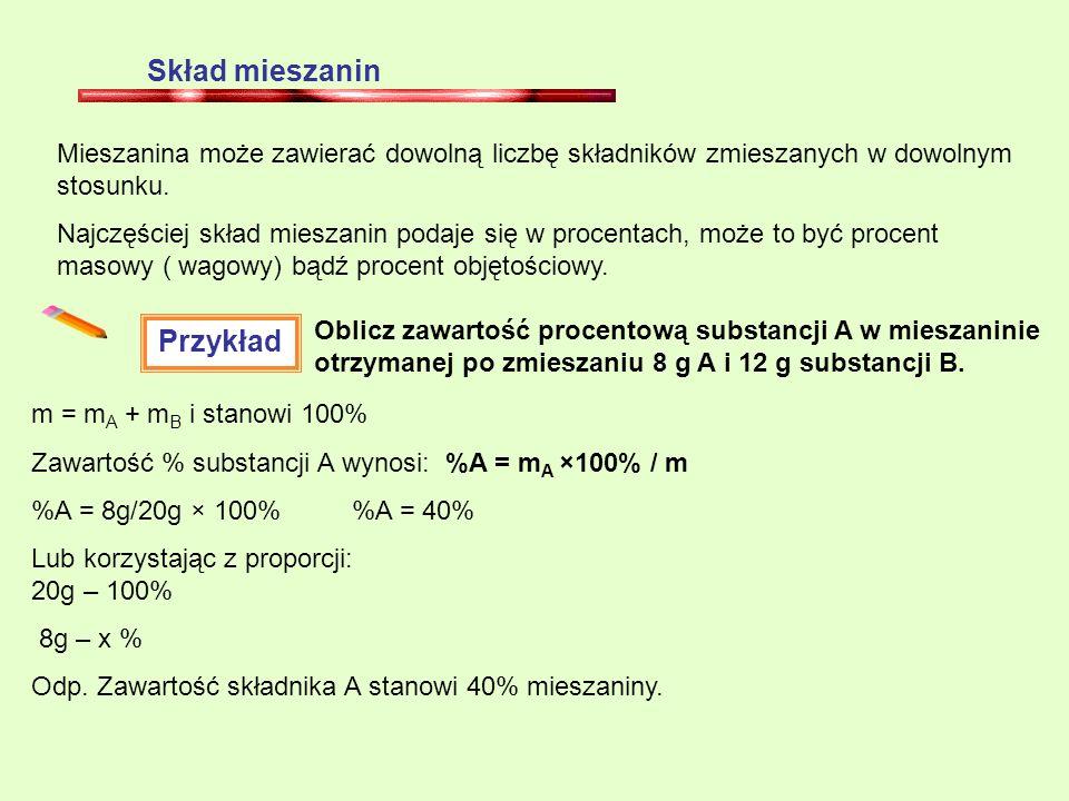 Skład mieszanin Mieszanina może zawierać dowolną liczbę składników zmieszanych w dowolnym stosunku. Najczęściej skład mieszanin podaje się w procentac