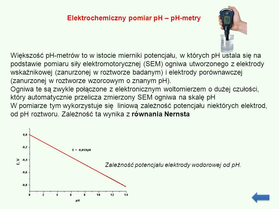 Elektrochemiczny pomiar pH – pH-metry Większość pH-metrów to w istocie mierniki potencjału, w których pH ustala się na podstawie pomiaru siły elektrom