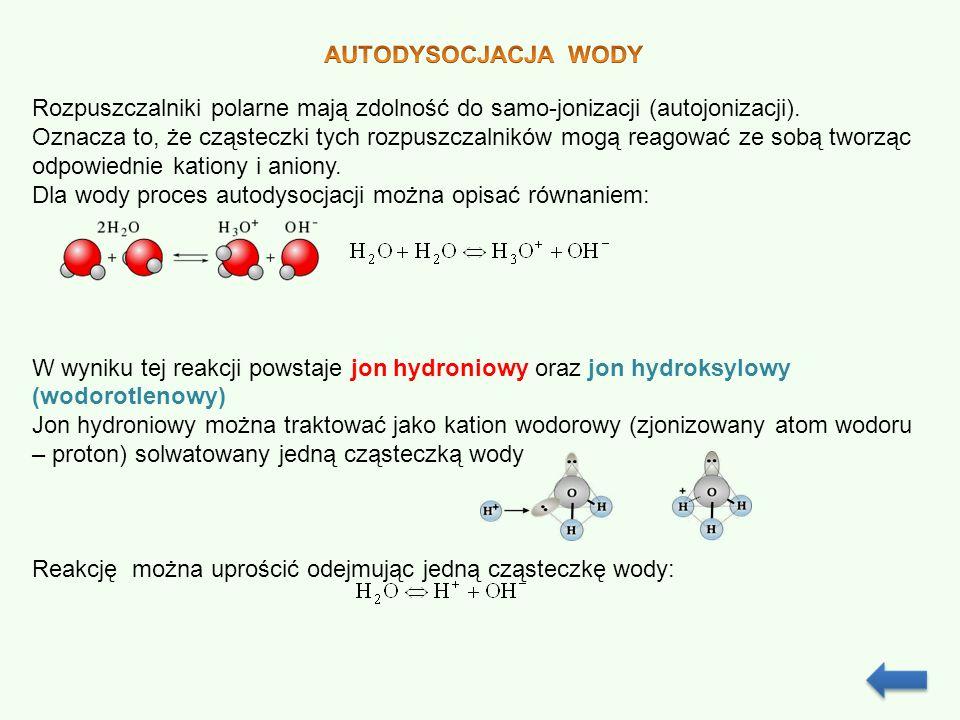 Iloczynem jonowym wody nazywamy iloczyn stężeń molowych jonów wodorowych (hydroniowych) i jonów hydroksylowych.