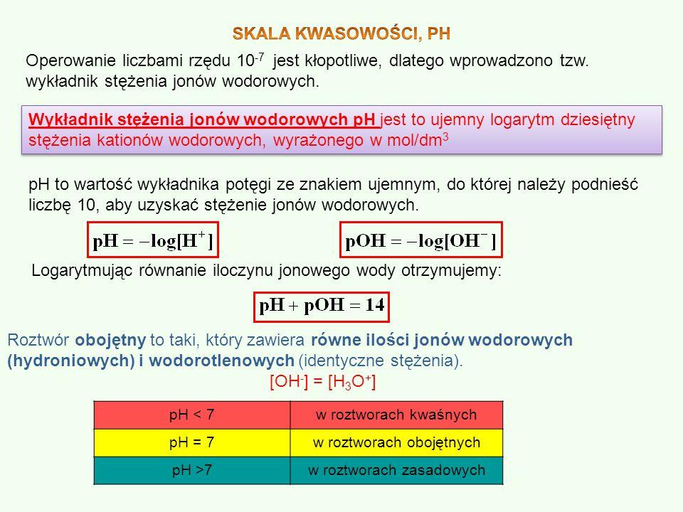 Operowanie liczbami rzędu 10 -7 jest kłopotliwe, dlatego wprowadzono tzw. wykładnik stężenia jonów wodorowych. Wykładnik stężenia jonów wodorowych pH