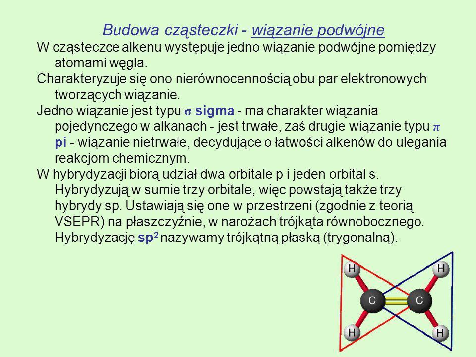 Budowa cząsteczki - wiązanie podwójne W cząsteczce alkenu występuje jedno wiązanie podwójne pomiędzy atomami węgla. Charakteryzuje się ono nierównocen