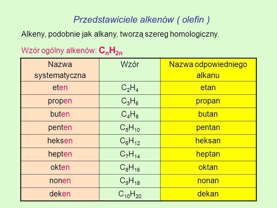 Przedstawiciele alkenów ( olefin ) Alkeny, podobnie jak alkany, tworzą szereg homologiczny. Wzór ogólny alkenów: C n H 2n Nazwa systematyczna WzórNazw