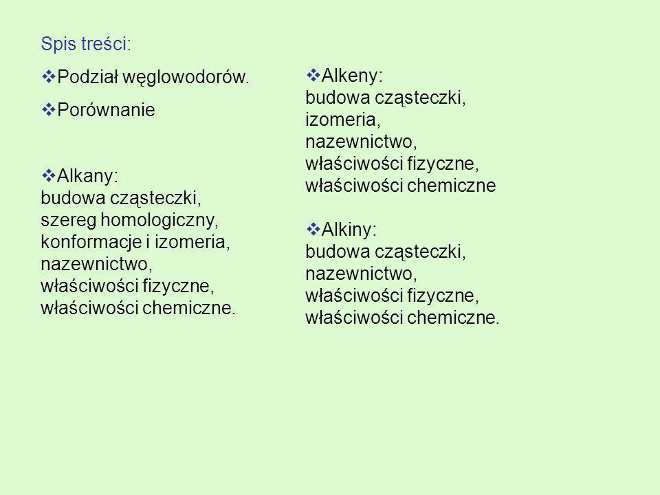 Spis treści: Podział węglowodorów. Porównanie Alkany: budowa cząsteczki, szereg homologiczny, konformacje i izomeria, nazewnictwo, właściwości fizyczn